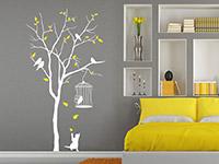Baum mit Vogelkäfig Wandtattoo als zweifarbige Wanddekoration