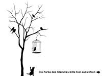 Wandtattoo Baum mit Vogelkäfig Motivansicht
