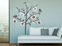 Wandtattoo Apfelbaum mit Fotorahmen im Wohnzimmer