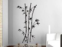 Wandtattoo Filigraner Bambus in schwarz im Wohnzimmer
