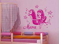 Wunschnamen Wandtattoo Meerjungfrau im Kinderzimmer in pink