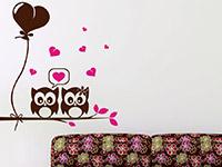 Eulen Wandtattoo Ast mit süßem Eulenpärchen in braun und pink
