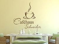 Caféhaus Wandtattoo mit Wunschname in der Wohnküche