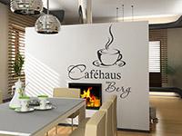 dekoratives Kaffeehaus Wandtattoo mit Wunschname