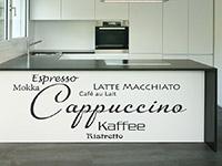 Kaffee Spezialitäten Wandtattoo am Küchenblock