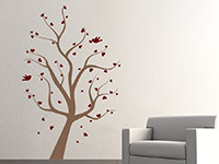 Wandtattoo Baum mit Herzen im Wohnzimmer
