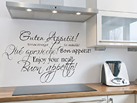 Küchen Wandtattoo Wandtattoo Guten Appetit international in schwarz