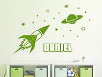 Wandtattoo Rakete mit Name im Kinderzimmer