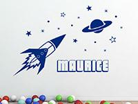 Sterne Wandtattoo Rakete mit Wunschname in blau