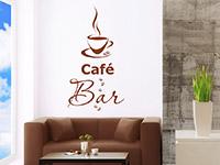 dekoratives Kaffee Wandtattoo mit Kaffeebohnen und Kaffeetasse