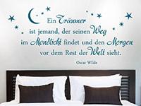Oscar Wilde Wandtattoo Ein Träumer... Zitat in Farbe auf heller Wand