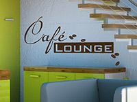 retro style Wandtattoo Kaffee Lounge mit Kaffeebohnen