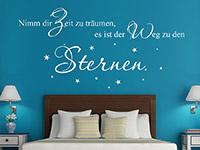 traumhaftes Sterne Spruch Wandtattoo über dem Bett