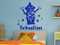 Roboter Wandtattoo mit Wunschname in königsblau