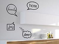 Englische Wandtattoo Sprechblasen Family in der Küche