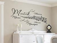 Musik Wandtattoo Wortwolke mit Notenlinien im Esszimmer