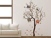 Fotorahmen Wandtattoo Baum mit Polaroids in braun und hellbraun