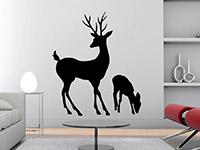Tier Wandtattoo Hirsch mit Hirschkalb in schwarz im Wohnzimmer