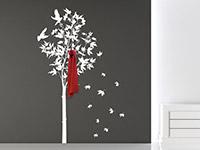 Wandtattoo Garderobe Ahornbaum in weiß im Flur