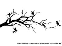 Garderobe Ast mit Vögeln Motivansicht