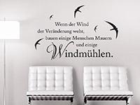 Wandtattoo Wenn der Wind... Sprichwort über der Couch