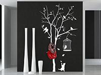 Wandtattoo Garderobe Baum mit Vögeln | Bild 2