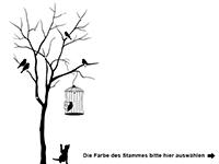 Garderobe Baum mit Vogelkäfig Motivansicht