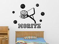 Wandtattoo Basketball Set mit Wunschname