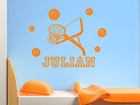 Wandtattoo Basketball Set mit Name im Kinderzimmer in hellrotorange