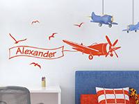 Flugzeug Wandtattoo mit Name in rot