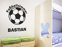 Wandtattoo Fußballzimmer mit Name im Kinderzimmer
