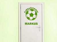 Wandtattoo Fußballzimmer mit Name auf der Tür