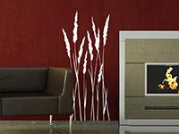 Gräser Wandtattoo Grashalme in weiß