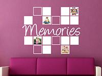 Fotorahmen Wandtattoo Memories im Wohnzimmer in weiß