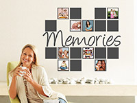 Foto Wandtattoo Fotorahmen Memories auf heller Wandfläche in grau