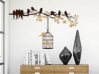 Wandtattoo Zweifarbiger Ast mit Vogelkäfig im Wohnzimmer in braun und hellbraun