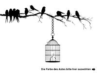 Wandtattoo Zweifarbiger Ast mit Vogelkäfig Motivansicht