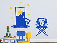 Eulen Wandtattoo Filmeulen in königsblau und gelb
