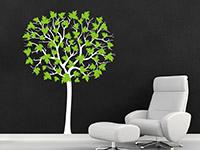 Großer Baum Wandtattoo als zweifarbige Wanddekoration in weiß und lindgrün