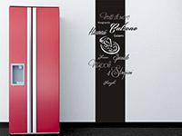 Pizza Sorten Wandtattoo Banner in der Küche in schwarz