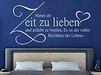 Wandtattoo Nimm dir Zeit zu lieben... im Schlafzimmer