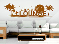 Lounge Wandtattoo Sunset Lounge in Farbe auf heller Wand