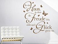 Wandtattoo In ein Haus mit Schmetterlingen Sprichwort als dekoratives Highlight