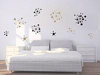 Wandtattoo Set Grafische Ornamente im Schlafzimmer in schwarz und beige