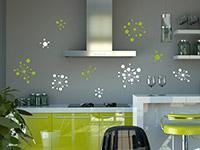 Zweifarbiges Wandtattoo Set Grafische Ornamente in der Küche
