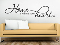 Wandtattoo Home is where your heart... Spruch im Wohnzimmer