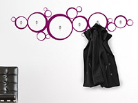 Garderoben Wandtattoo Retro Kreise in Farbe