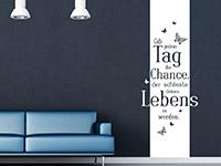 Banner Wandtattoo Spruch Gib jedem Tag... in weiß