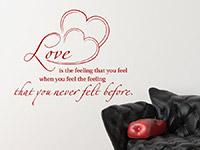 Liebe Wandtattoo Love is the feeling... über dem Bett