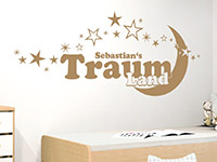 Baby Wandtattoo Traumland mit Name im Kinderzimmer